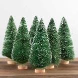 Frosted Green Bottle Brush Trees