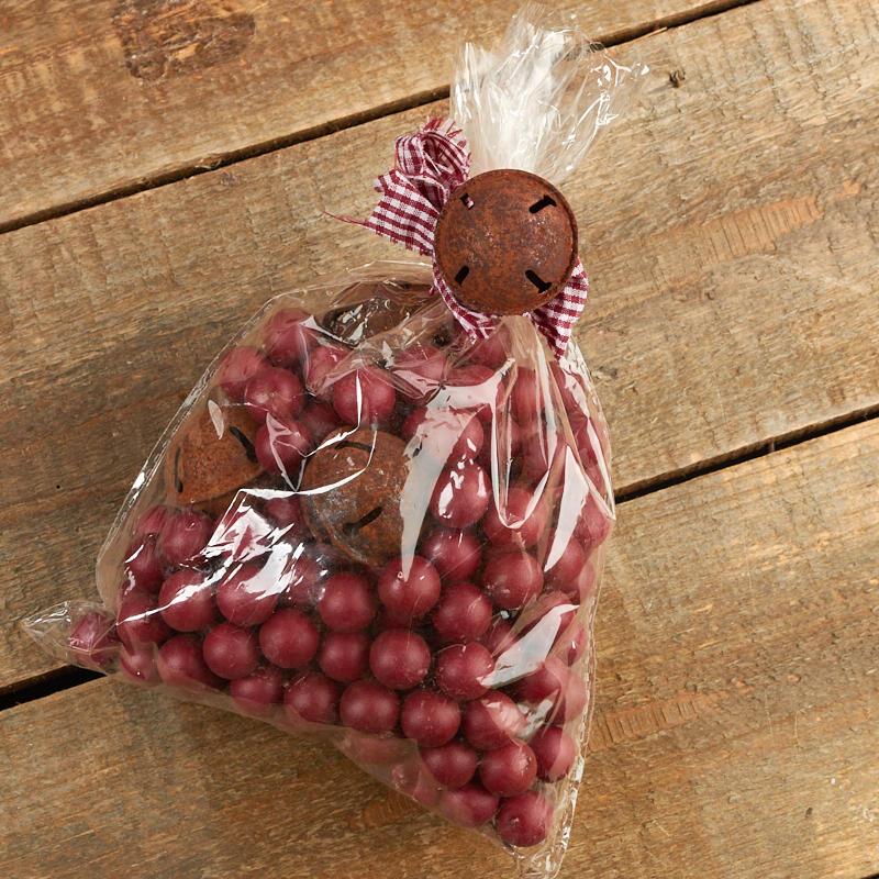 Bag Of Rusty Jingle Bells And Artificial Cranberries Vase Fillers