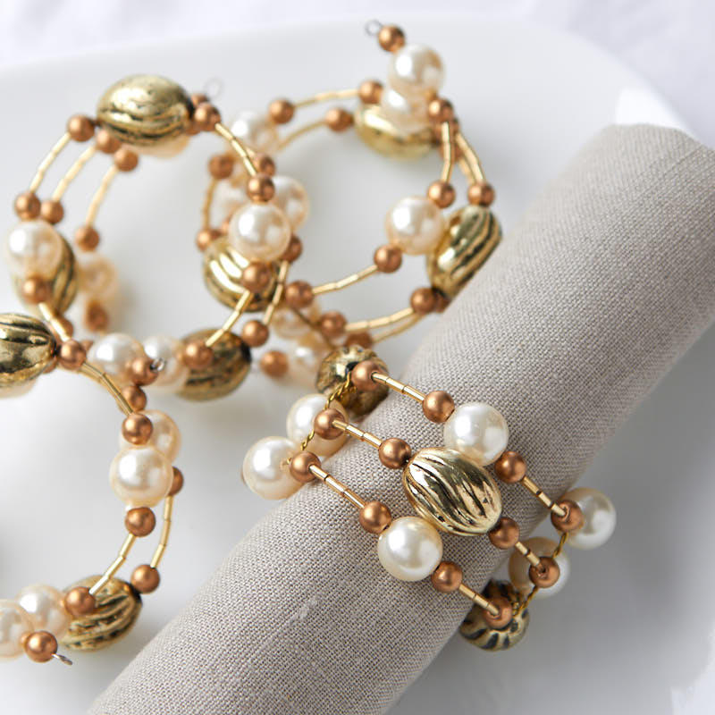 Gold Wire Beaded Napkin Rings Kitchen Utensils Kitchen