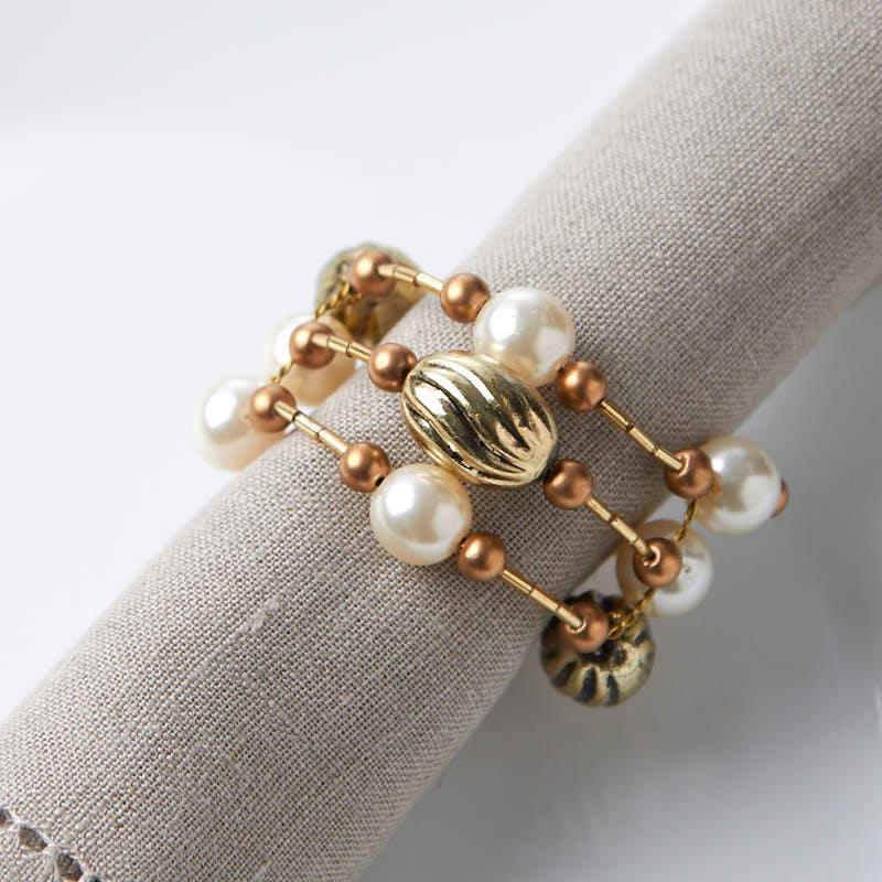 Gold Wire Beaded Napkin Rings Kitchen Utensils Kitchen And Bath Home Decor Factory Direct Craft