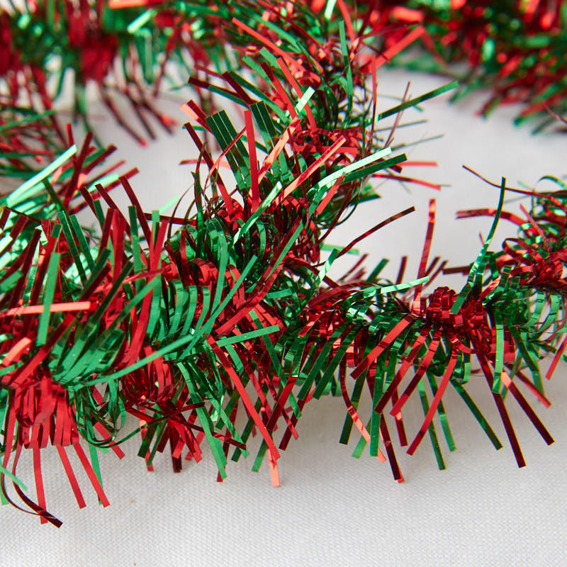 Metallic red and green tinsel garland christmas