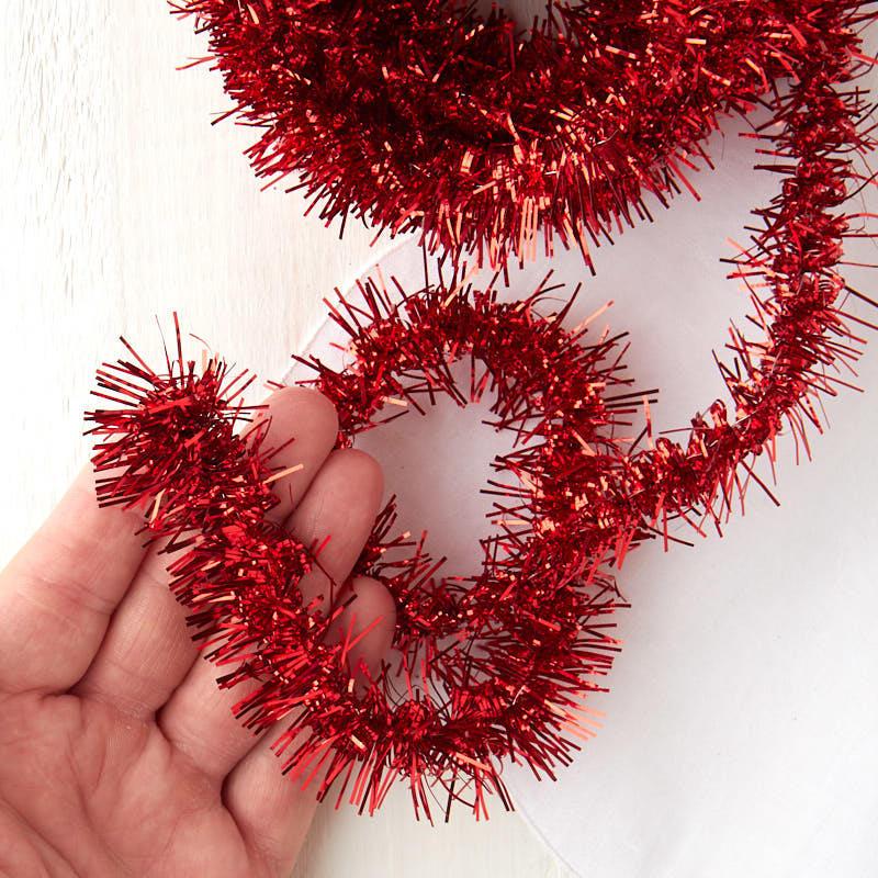 Metallic red tinsel garland ribbon sale sales