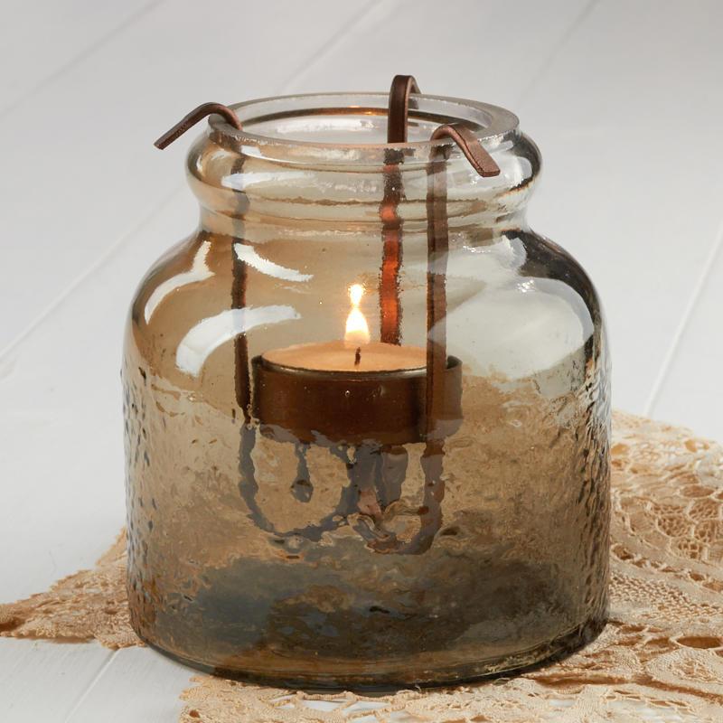 Home Interiors Candles Catalog: Smoky Quartz Glass Tealight Candle Holder