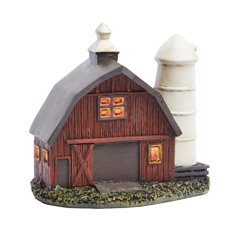 miniature fairy garden barn and silo