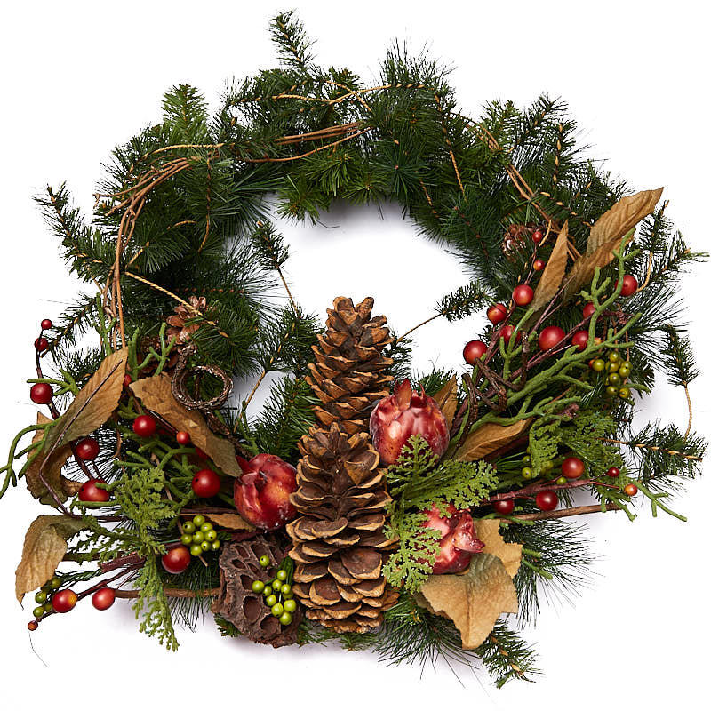 Artificial pomegranate and pine wreath wall hanging for Artificial pomegranate decoration