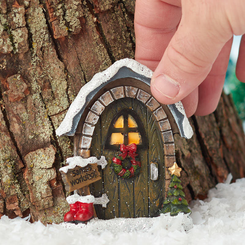 Christmas Miniatures.Miniature Christmas Santa S Workshop Door