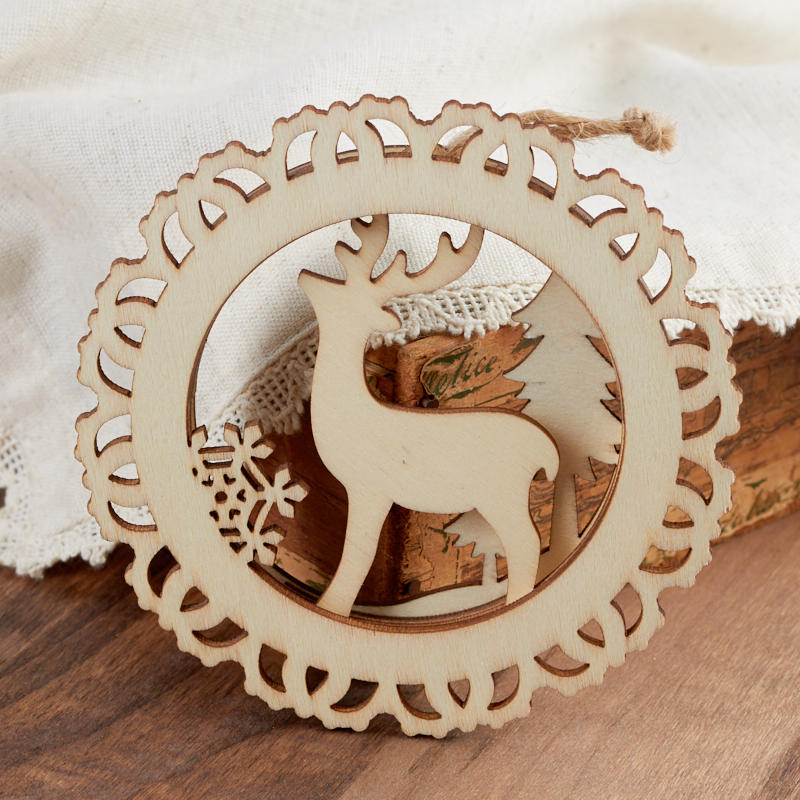 Unfinished Wood Laser Cut Reindeer Ornament Wood Cutouts
