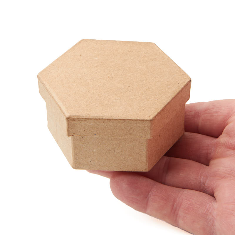 Small paper mache hexagon box paper mache basic craft for Craft paper mache boxes