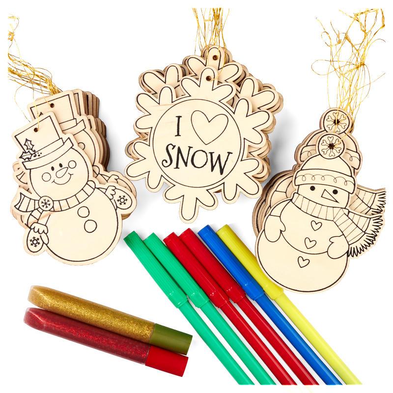 Snowman And Snowflake Wood Ornaments Kid S Craft Kit Wood Craft