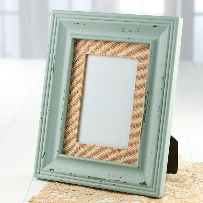 Weathered Teal Picture Frame with Burlap Mat - Picture Frames - Home ...