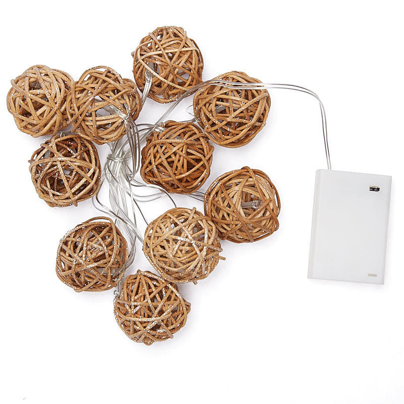 Battery Operated Rattan Ball String Lights - Luau and Beach Theme - Party & Special Occasions