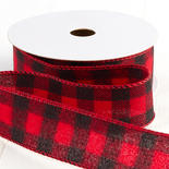 Red and Black Buffalo Check Flannel Plaid Wired Ribbon