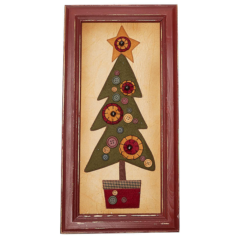 Primitive framed fabric christmas tree wall art for Fabric wall art