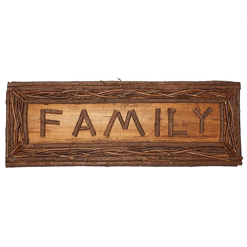 Natural twig family sign wall decor home decor for Twig decorations home