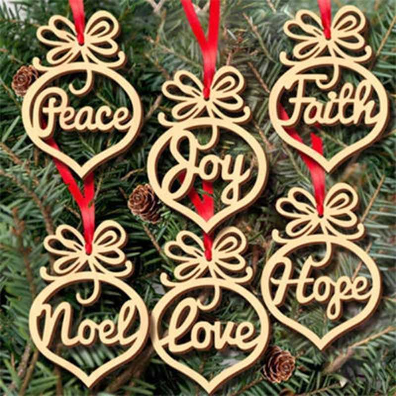 Laser Cut Peace Hope And Joy Wood Ornaments