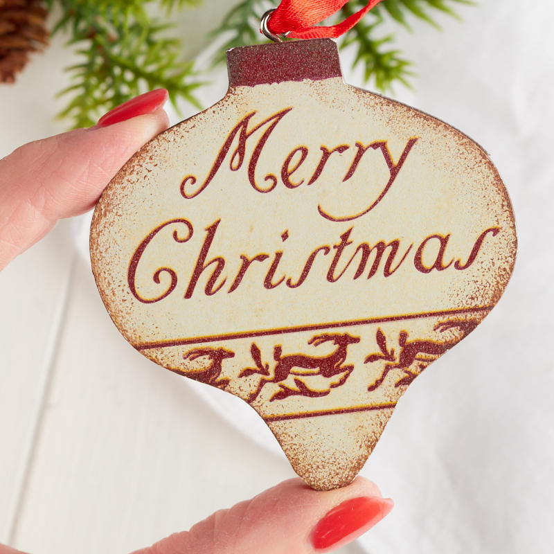 """Merry Christmas Ornaments: Rustic """"Merry Christmas"""" Ornament"""