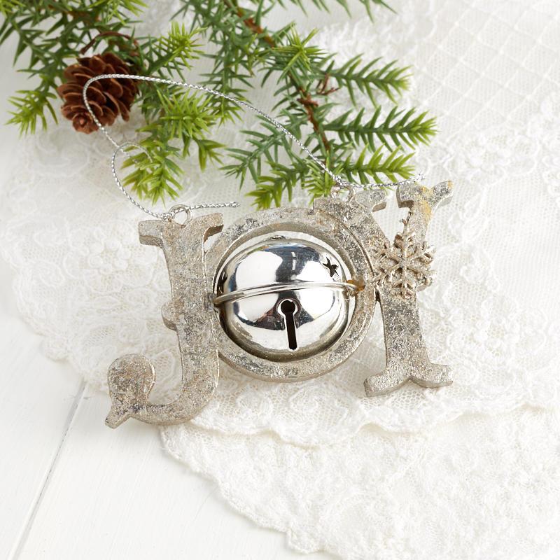 "Silver ""Joy"" Sleigh Bell Ornament - Christmas Ornaments ..."