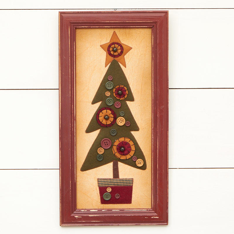 Primitive Framed Fabric Christmas Tree Wall Art - Wall Art ...