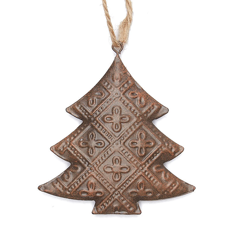 Rusty pressed metal christmas tree ornament new items for Christmas tree items list