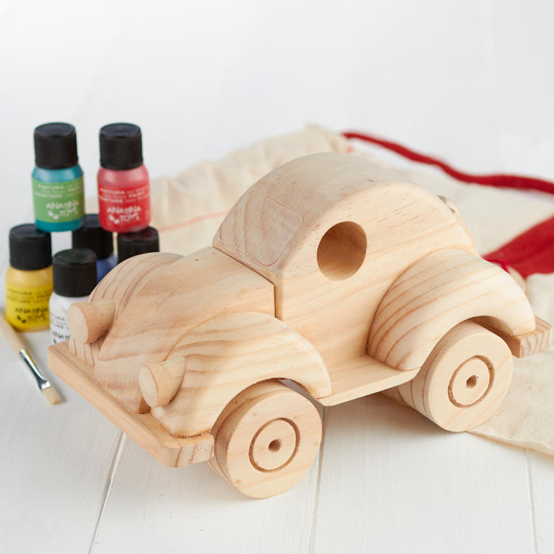 Unfinished wood toy beetle car craft kit kids craft kits for Wooden craft supplies online