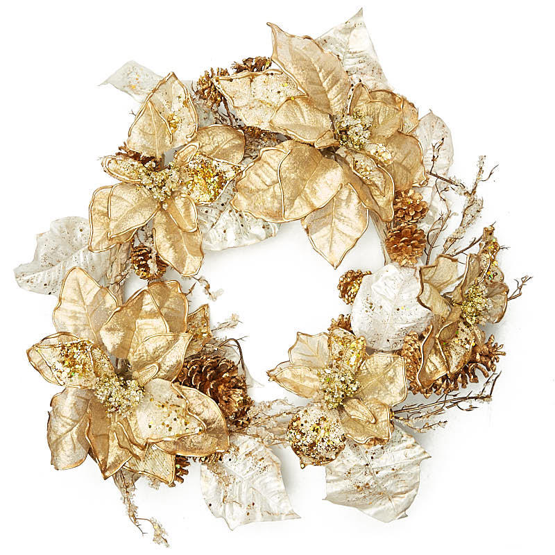 Gold artificial poinsettia wreath craft supplies sale for Craft wreaths for sale