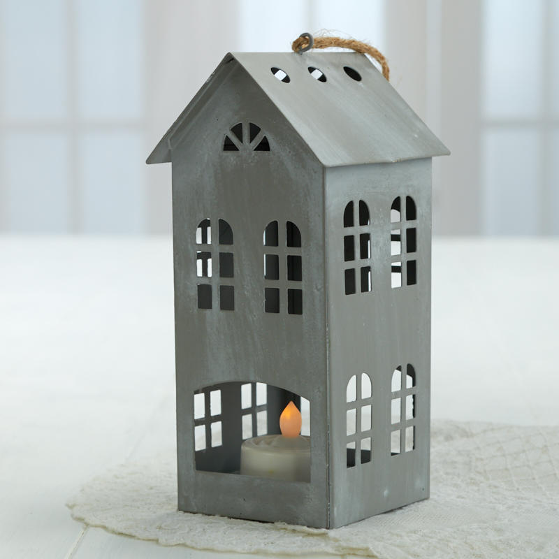 Silver Colonial Saltbox House Ornament Decorative