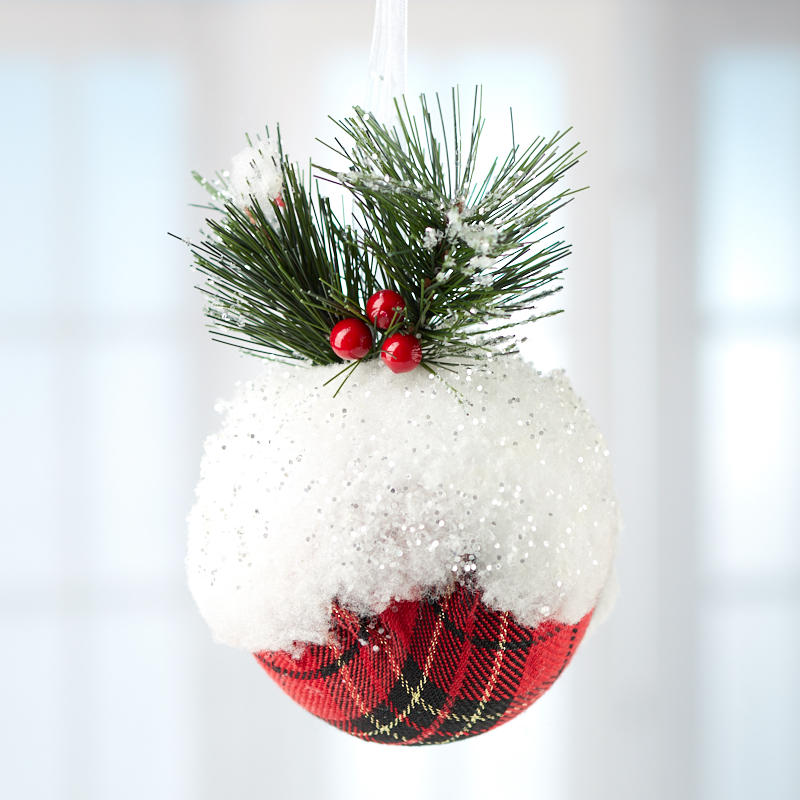 item 30028466 trim your tree with with this snowy plaid christmas ball ornament - Plaid Christmas Ornaments
