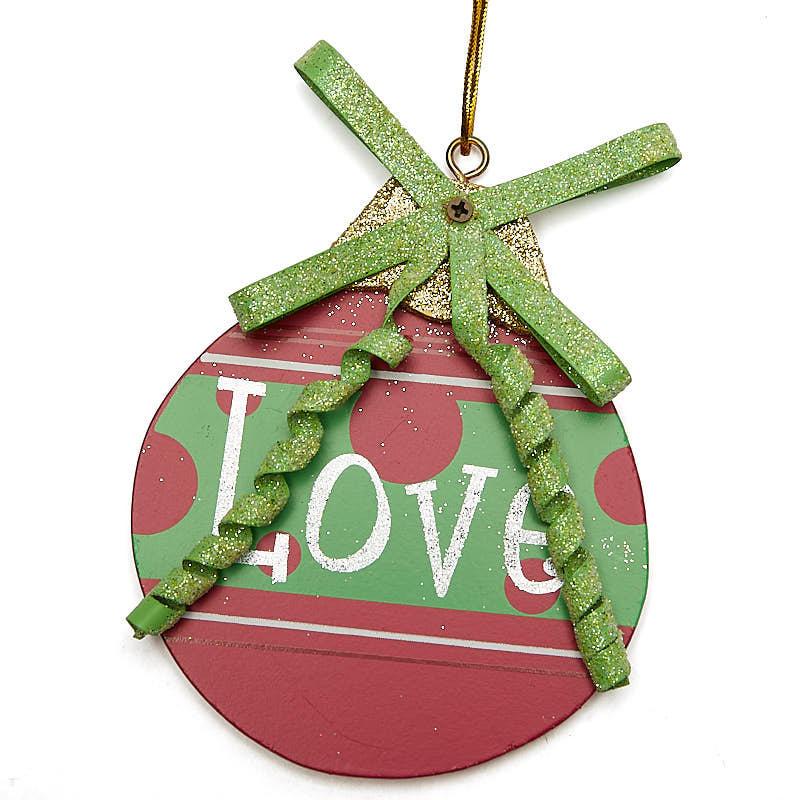 "Round ""Love"" Christmas Ornament - Christmas Ornaments ..."