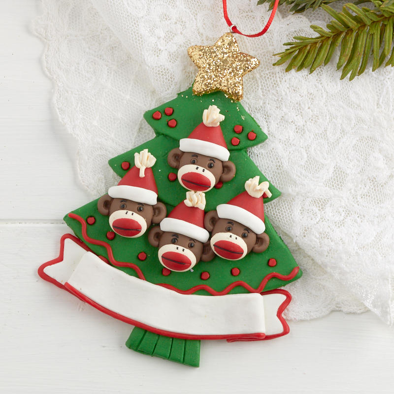 Monkey Family Personalizable Christmas Tree Ornament ...