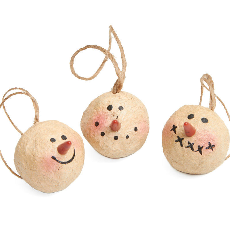 Primitive snowman head ornaments christmas