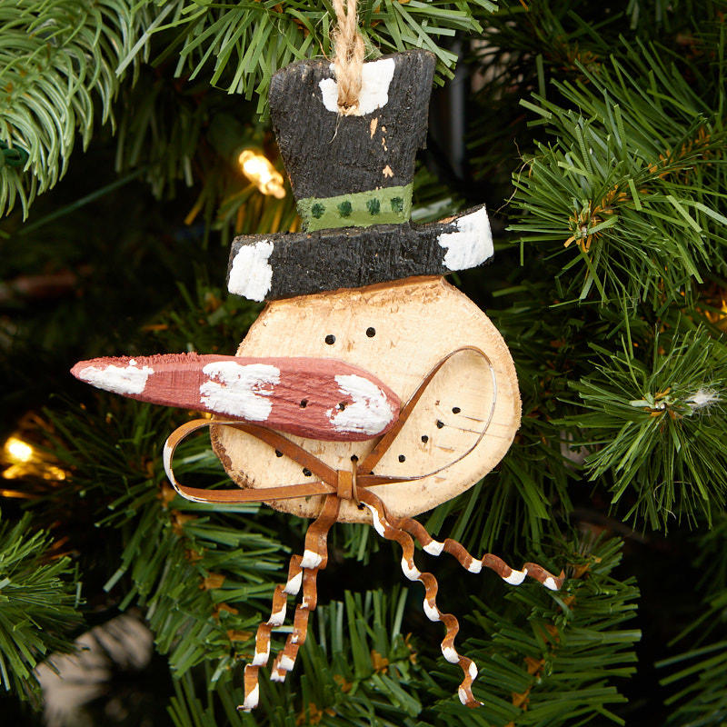 Primitive Rustic Snowman Ornament - Christmas Ornaments ...