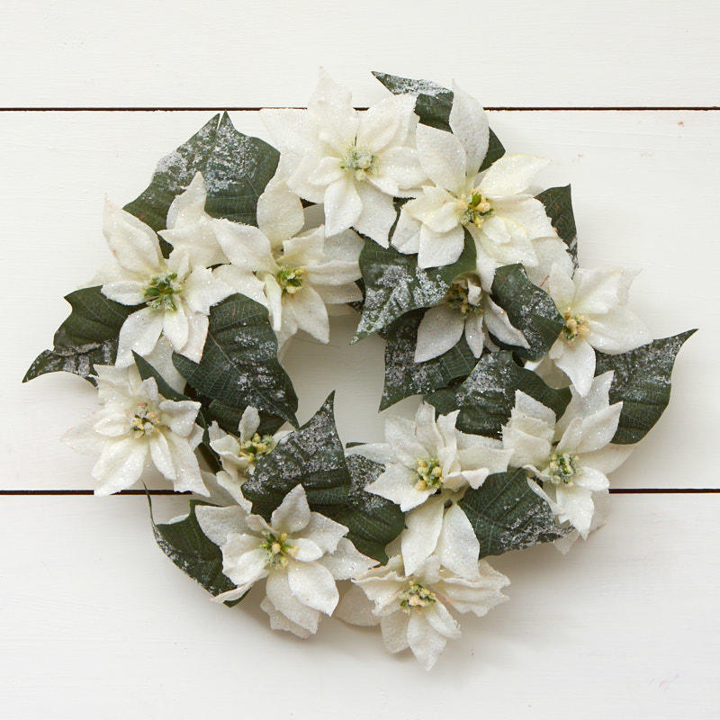 White artificial poinsettia wreath on sale craft supplies for Craft wreaths for sale