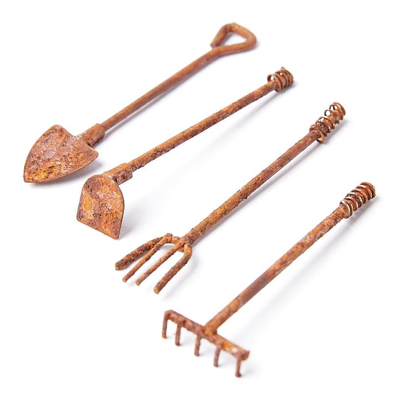 Rusty miniature garden tool set fairy garden miniatures for Miniature garden tools
