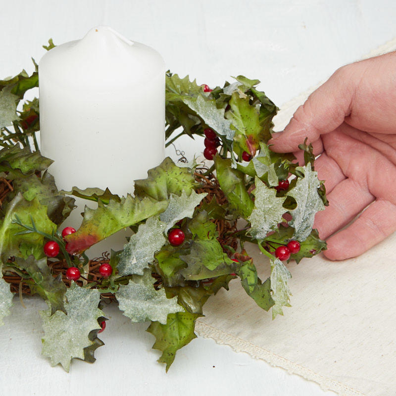 """2 Vtg Christmas Taper Candle Rings Plastic Holly Artificial Greenery 1/"""""""