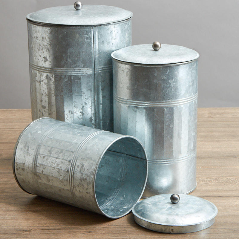 Galvanized Farmhouse Canister Set Decorative Containers