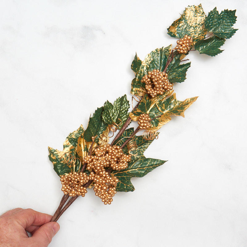 Gold and Green Artificial Berry and Leaf Stem - Stems ...