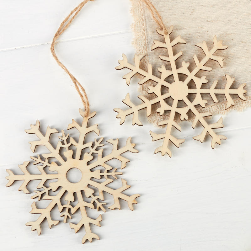 Unfinished Wood Snowflake Laser Cut Ornaments