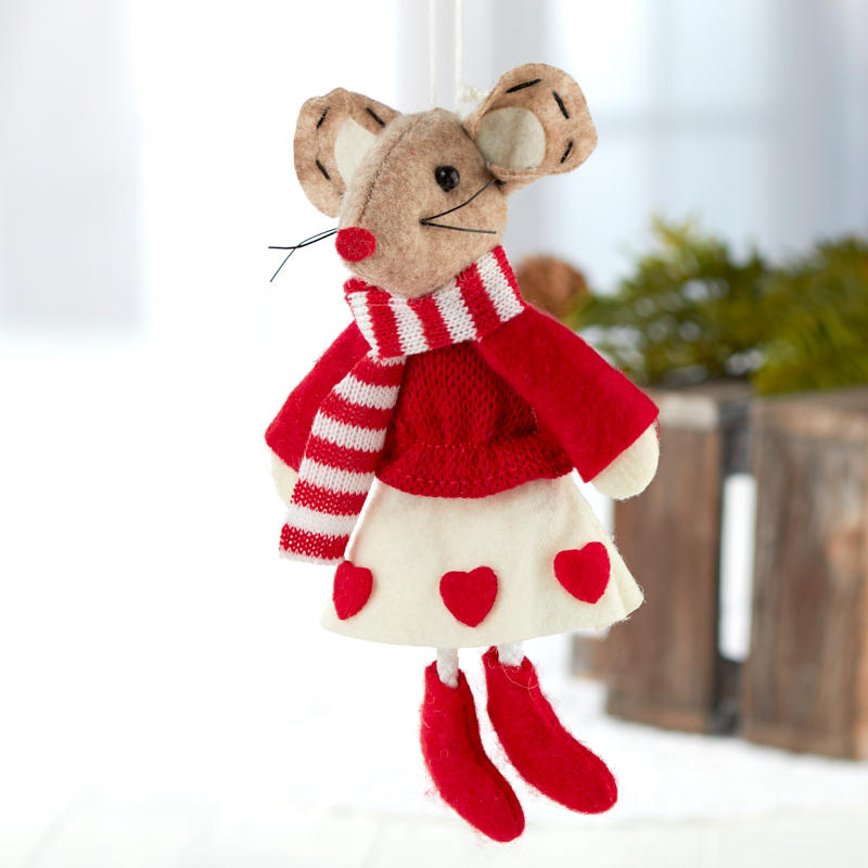 Christmas Mouse.Felt Christmas Mouse Ornament