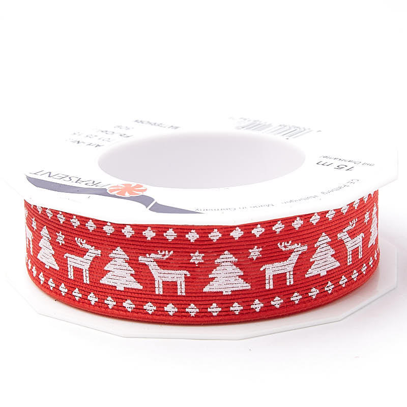 Red Woodland Winter Christmas Wired Ribbon