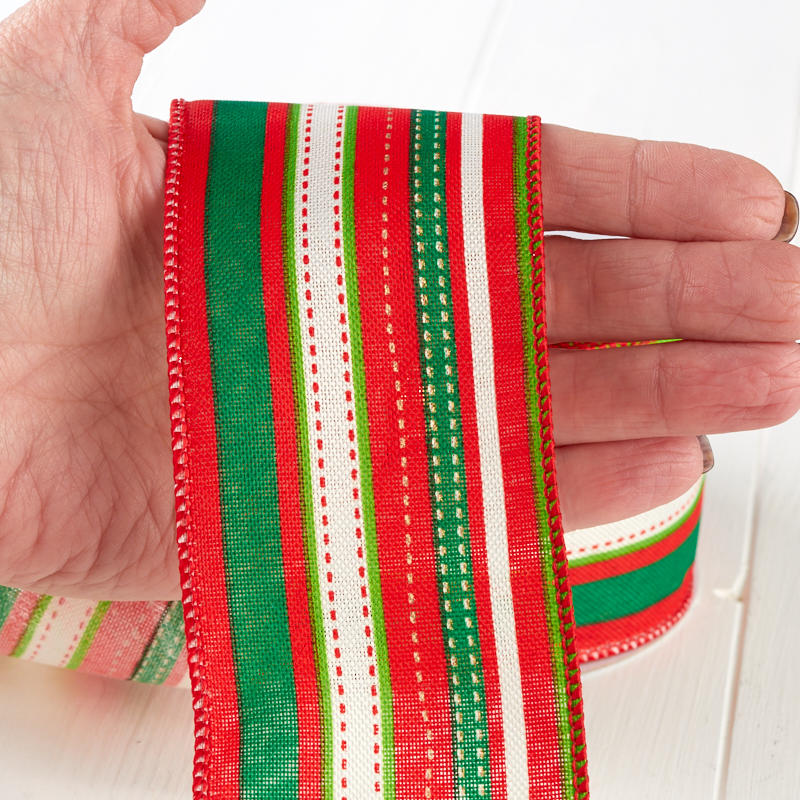 Red And Green Nordic Stripes Wired Ribbon