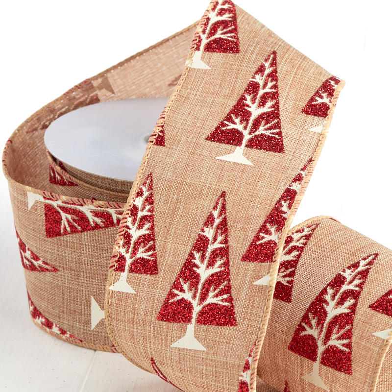 Red Glittered Tree Patterned Linen Wired Ribbon