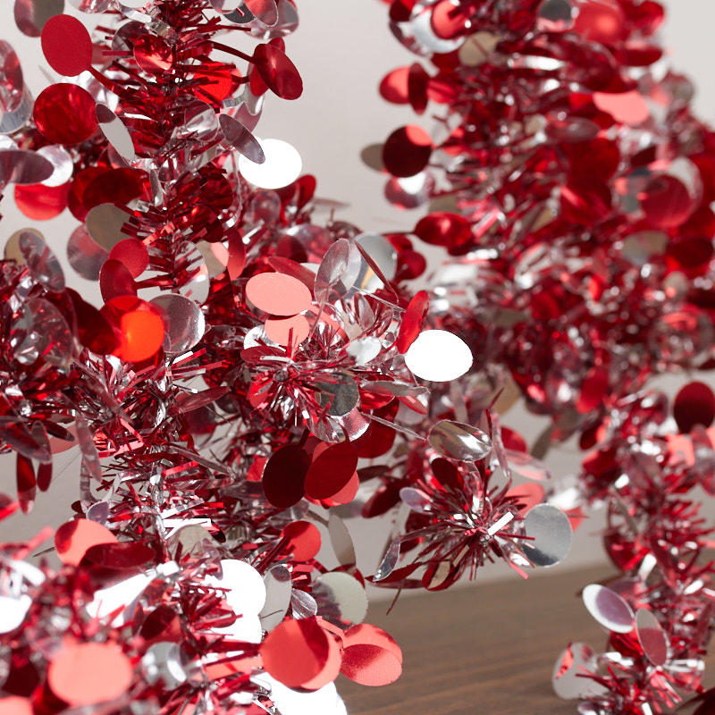 Red and silver wired tinsel garland garlands floral