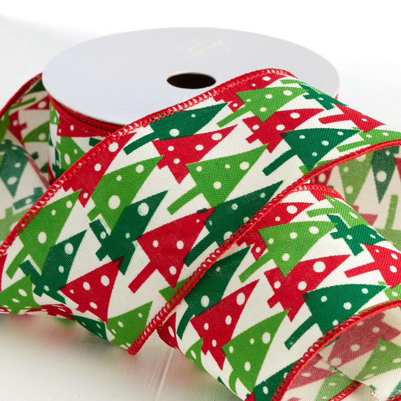 Seasons Greetings Christmas Tree Wired Ribbon - Holiday ...