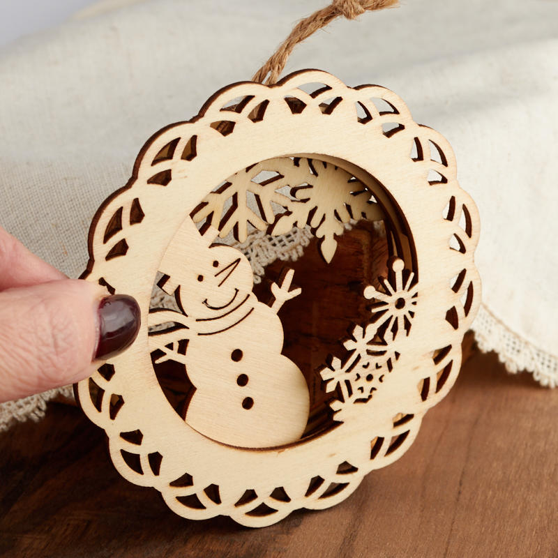 Unfinished Wood Laser Cut Dimensional Snowman Ornament