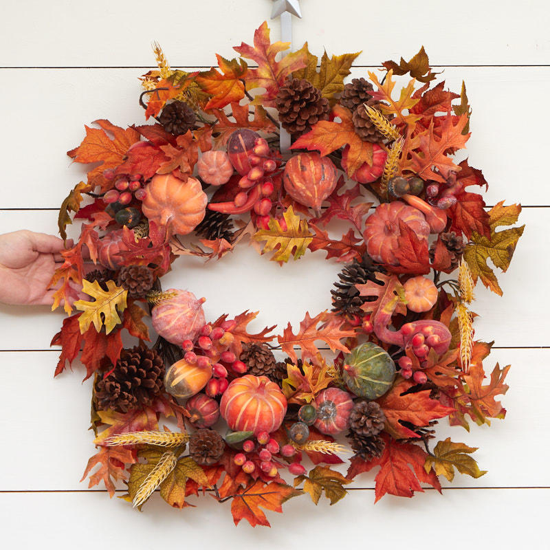 Artificial Autumn Harvest Wreath Fall And Halloween Sale