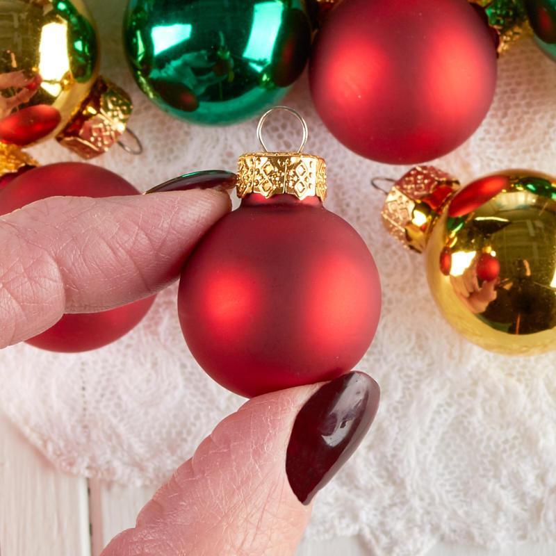 Religious Christmas Ornament Assortment: Assorted Miniature Christmas Ball Ornaments