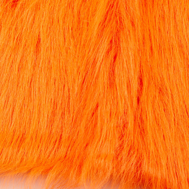 Long Pile Orange Faux Fur Fabric And Material Basic