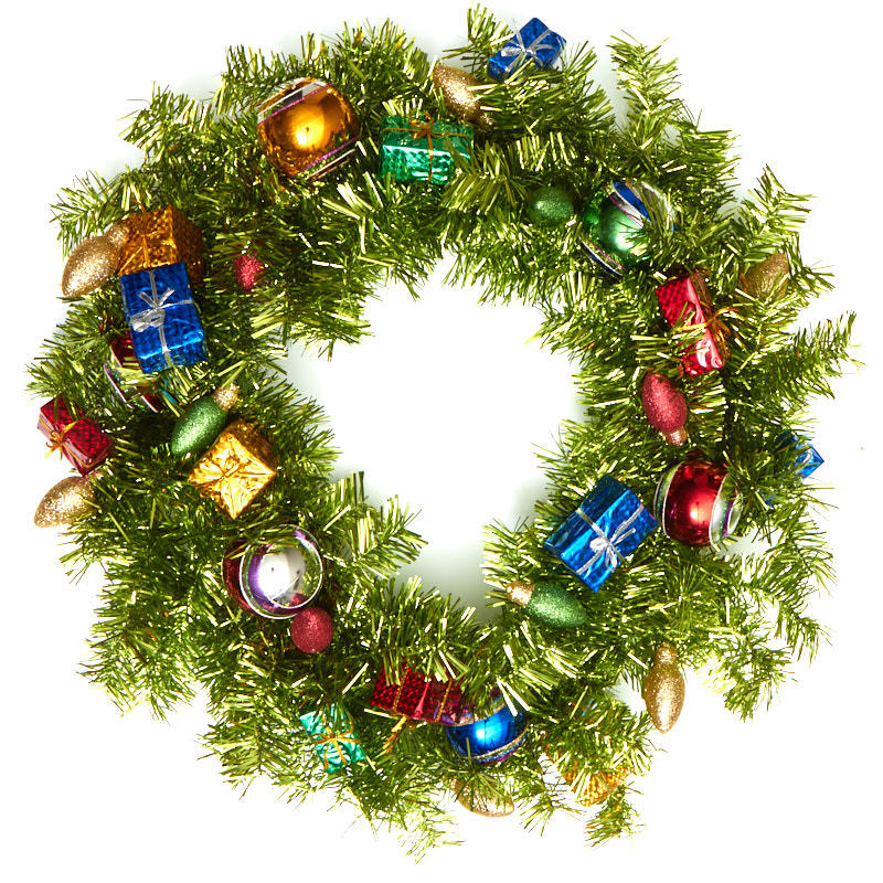 Large green tinsel and ornaments wreath wreaths floral