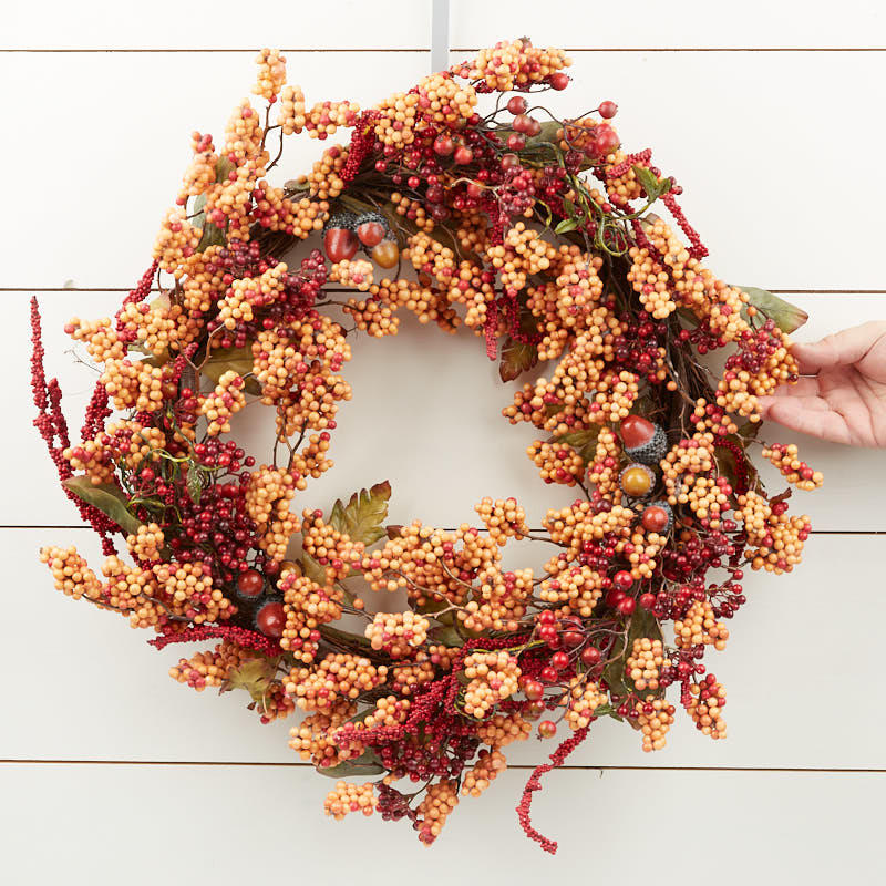 Autumn Artificial Berry And Acorn Wreath Wreaths