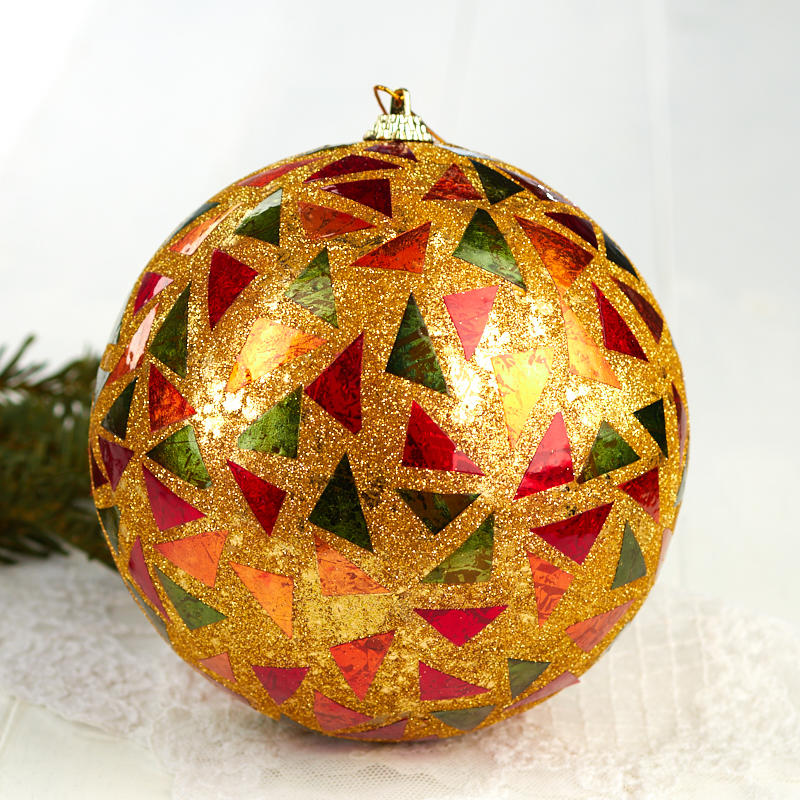 Item# N1415RDGNGD Trim your tree with this Gold Mosaic Christmas Ball  Ornament! - Gold Mosaic Christmas Ball Ornament - Christmas Ornaments